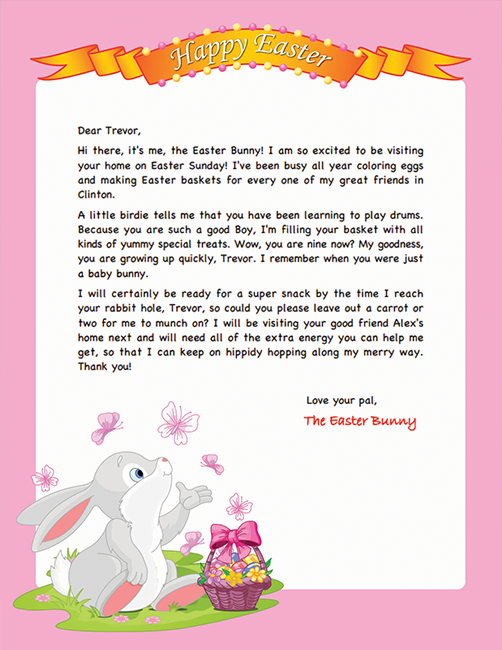 Easter Bunny Letter Example Personalized Letters From The Easter Bunny